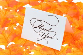 Thank you card - orange leaves