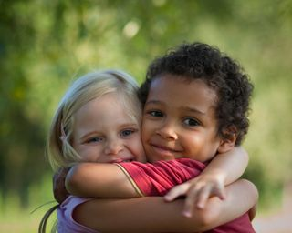 Children hug